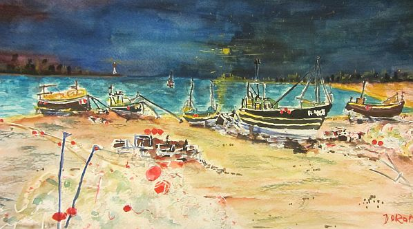 Fishing Boats in a Stormy Bay (1/2)